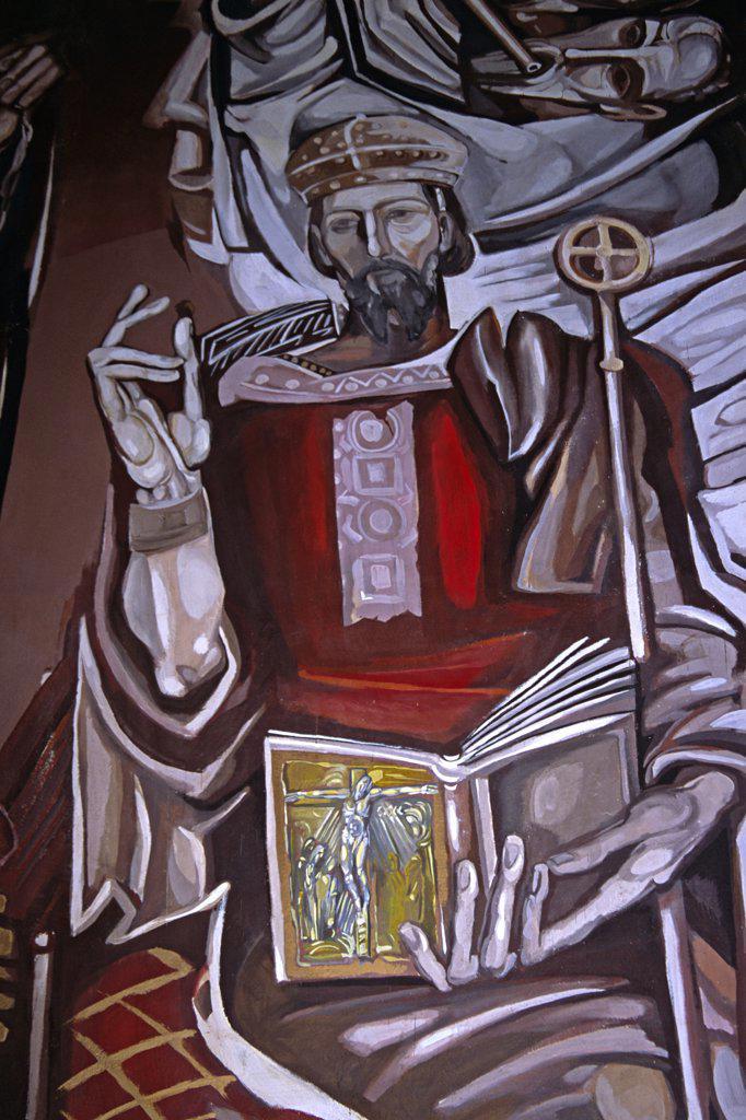 Bulgaria, Veilko Tarnovo, 'Church Of The Blessed Saviour, Tsarevets, Interior Painting' : Stock Photo