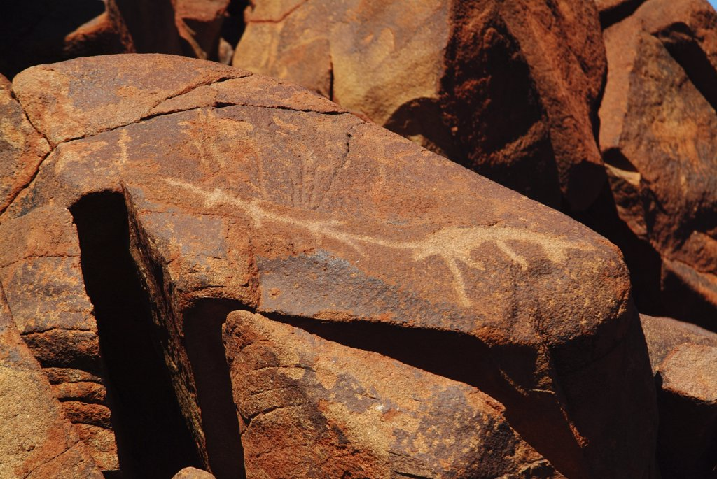 Australia, Western Australia, Dampier, '40,000 Yo Aboriginal Art That Is Currently Being Bulldozed By Petrol Company' : Stock Photo