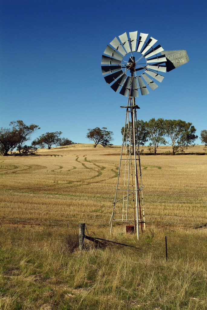 Australia, Western Australia, Perth, Wind Powered Water Pump Outside Perth. : Stock Photo
