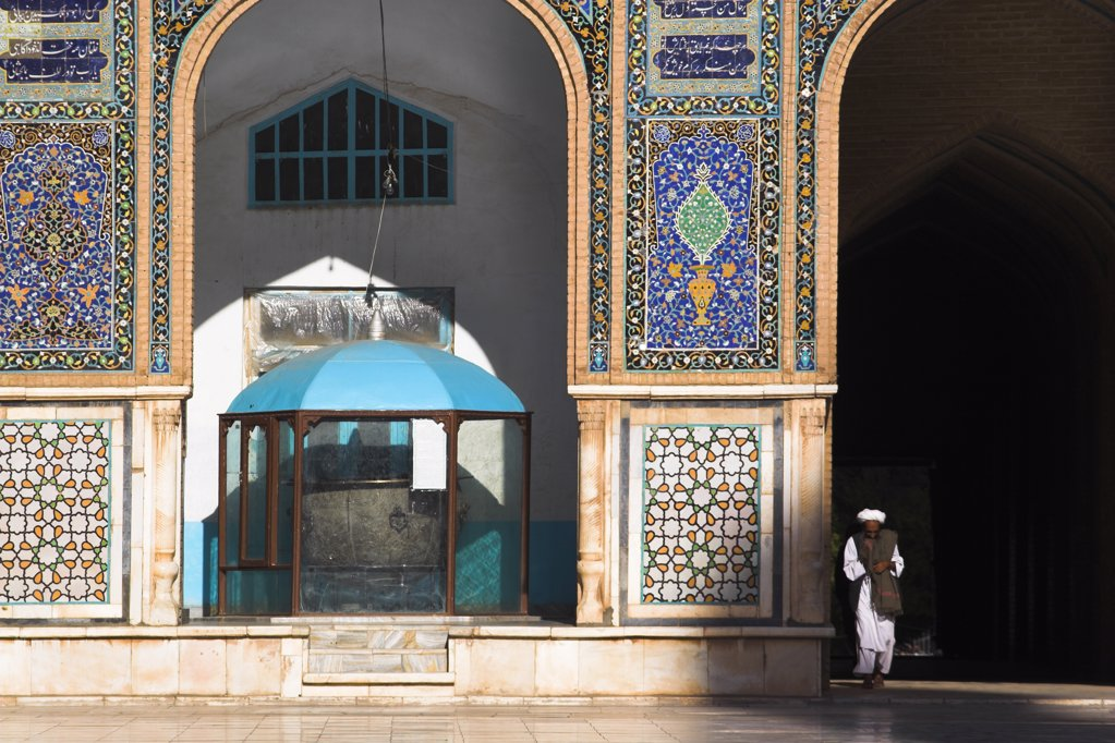 Stock Photo: 1850-21545 Afghanistan, Herat, 'Friday Mosque Or Masjet-Ejam, The Courtyard, Bronze Couldron Dating From The Reign Of The Kart Kings Of Herat (1332-1381) Originally Used As A Receptacle For Sherbat Now Used For Donations For The Upkeep Of The Mosque Originally Laid Out On The Site Of An Earlier 10Th Century Mosque In The Year 1200 By The Ghorid Sultan Ghiyasyddin. Restoration Started In 1943'