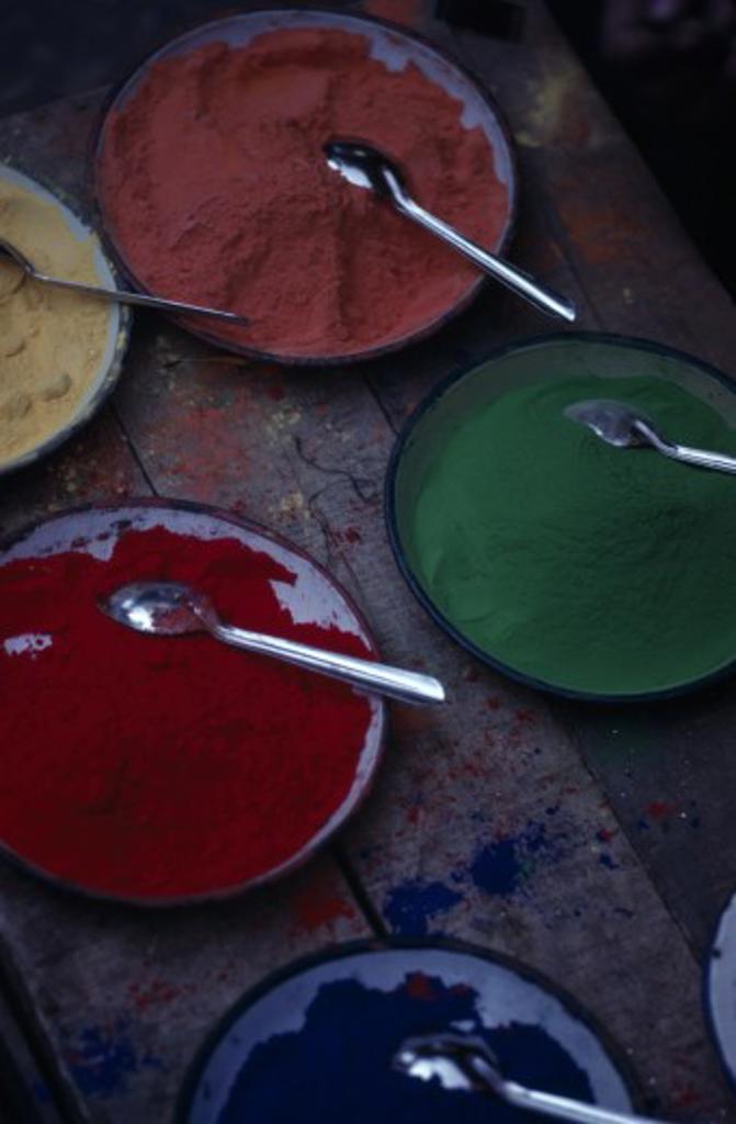Nepal, Kathmandu, Tika Powder For Sale In Asan Bazaar. : Stock Photo