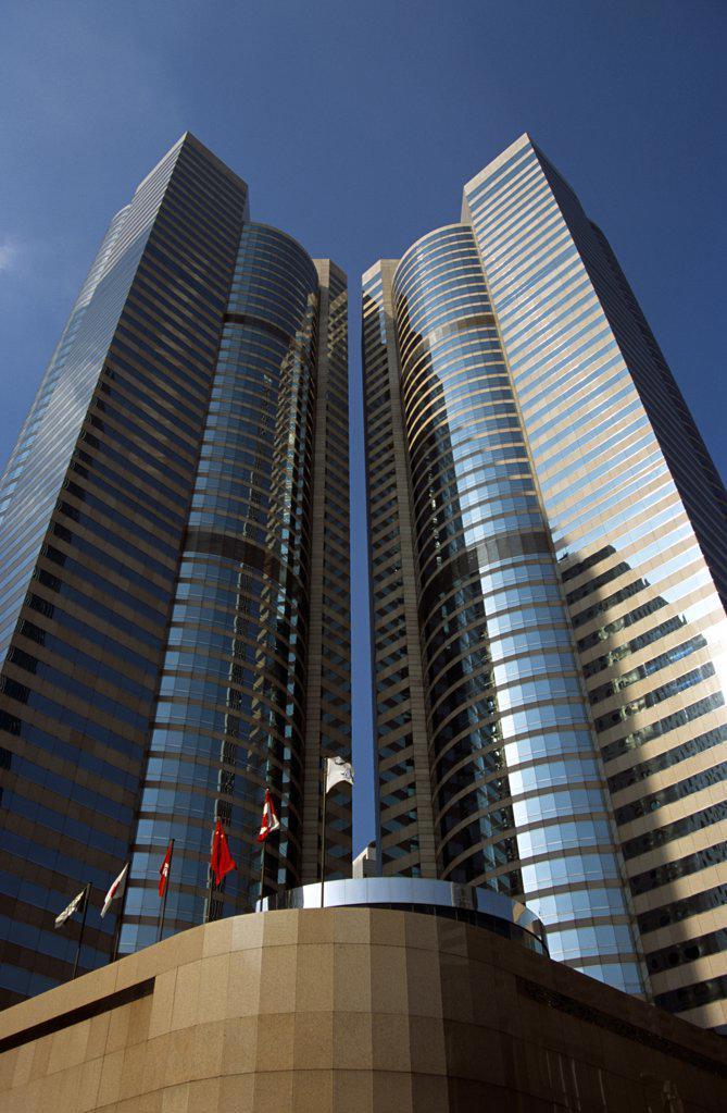 China, Hong Kong, 'Exchange Square. Hong Kong Stock Exchange, Towers 1 And 2.' : Stock Photo