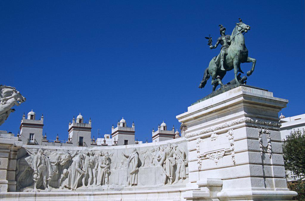 Stock Photo: 1850-22194 Spain, Andalucia, Cadiz, 'Plaza De Espana, Cadiz Parliament, Monument Dedicated To Cortes Of Cadiz Of 1812.'