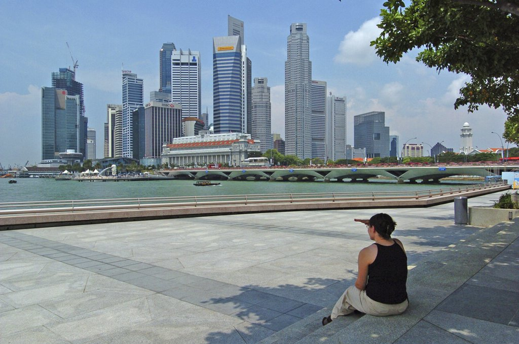 Stock Photo: 1850-23521 Singapore, Cbd, Financial District Skyline Seen Across The River.