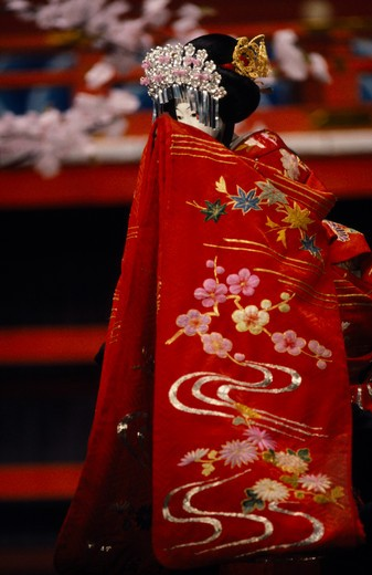 Stock Photo: 1850-23613 Japan, Arts, Performance, Bunraku Puppet Female Character. Heroines Are Not Permitted The Same Open Displays Of Emotion As The Male Characters And Hide Their Feelings With A Towel Or Fold Of Their Kimono.