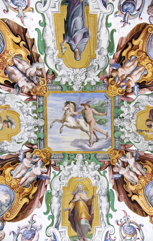 Stock Photo: 1850-24062 Italy, Lazio, Rome, Vatican City Painted Ceiling Detail In The Papal Apartments Of The Palace Within The Museum