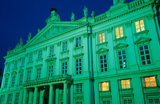 Stock Photo: 1850-24532 Slovakia, Bratislava, Angled View Of Exterior Facade Of The Primacialny Or Primate?S Palace At Night. Neo-Classical Palace In The Old Town Built 1778-1781 For Archbishop Jozsef Batthyany.