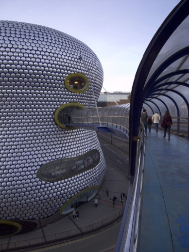 Stock Photo: 1850-24663 England, West Midlands, Birmingham, Exterior Of Selfridges Department Store In The Bullring Shopping Centre. People On Elevated Walkway To The Carpark.