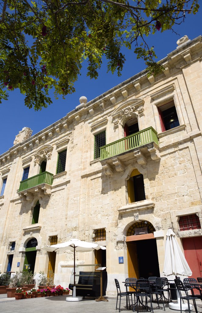 Stock Photo: 1850-24881 Malta, Valletta, The Waterfront Redevelopment Of Old Baroque Pinto Wharehouses Below The Bastion Walls Of Floriana Beside The Cruise Ship Terminal