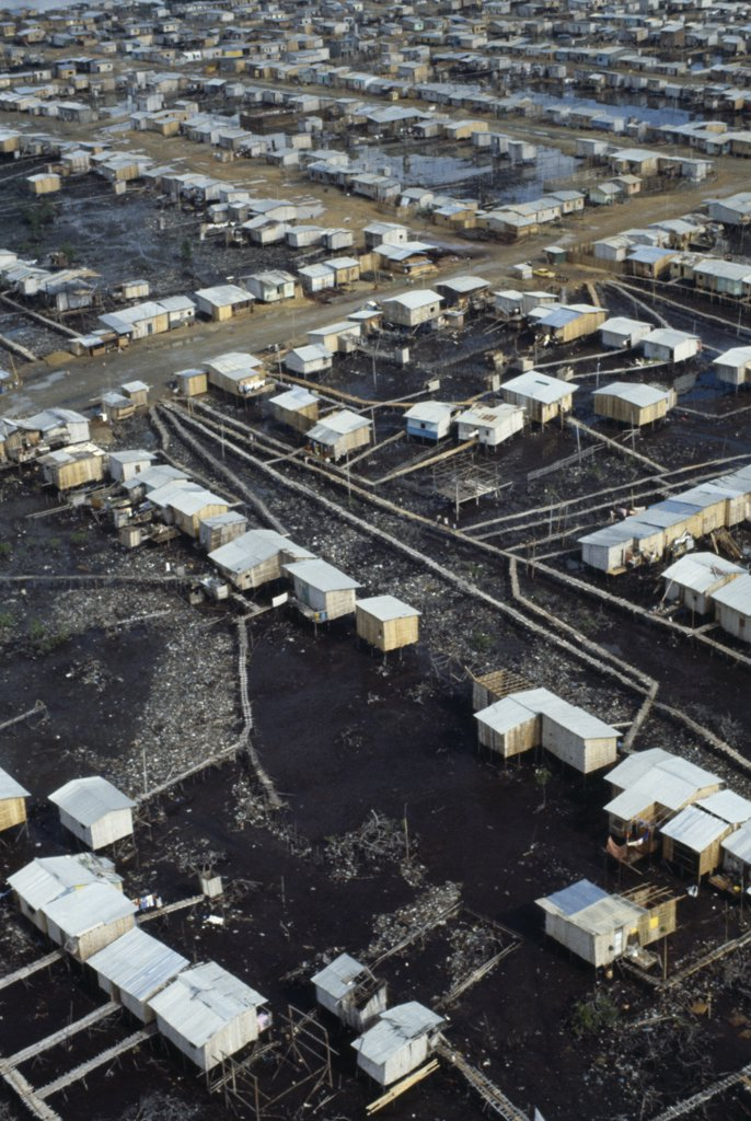 Ecuador, Guayas Province, Guayaquil , Aerial View Over Slum Housing With Stilt Buildings Built Over Untreated Sewage : Stock Photo