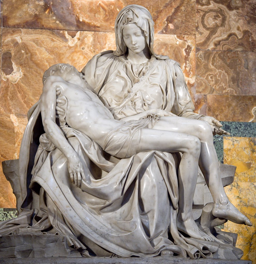 Stock Photo: 1850-25726 Italy, Lazio, Rome, Vatican City The 1499 Renaissance Pieta By Michelangelo In St Peter'S Basilica Depicting The Body Of Jesus In The Arms Of His Mother Mary After The Crucifixion