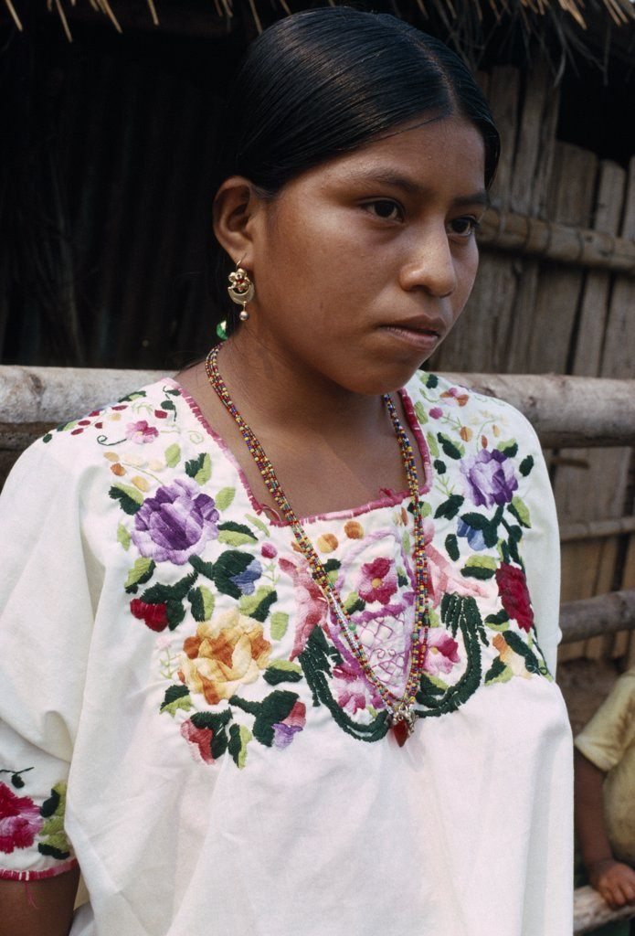 Guatemala, Alta Verapaz, Semuy, Portrait Of A Q?Eqchi Indian Girl Wearing A Hand Embroidered Blouse : Stock Photo