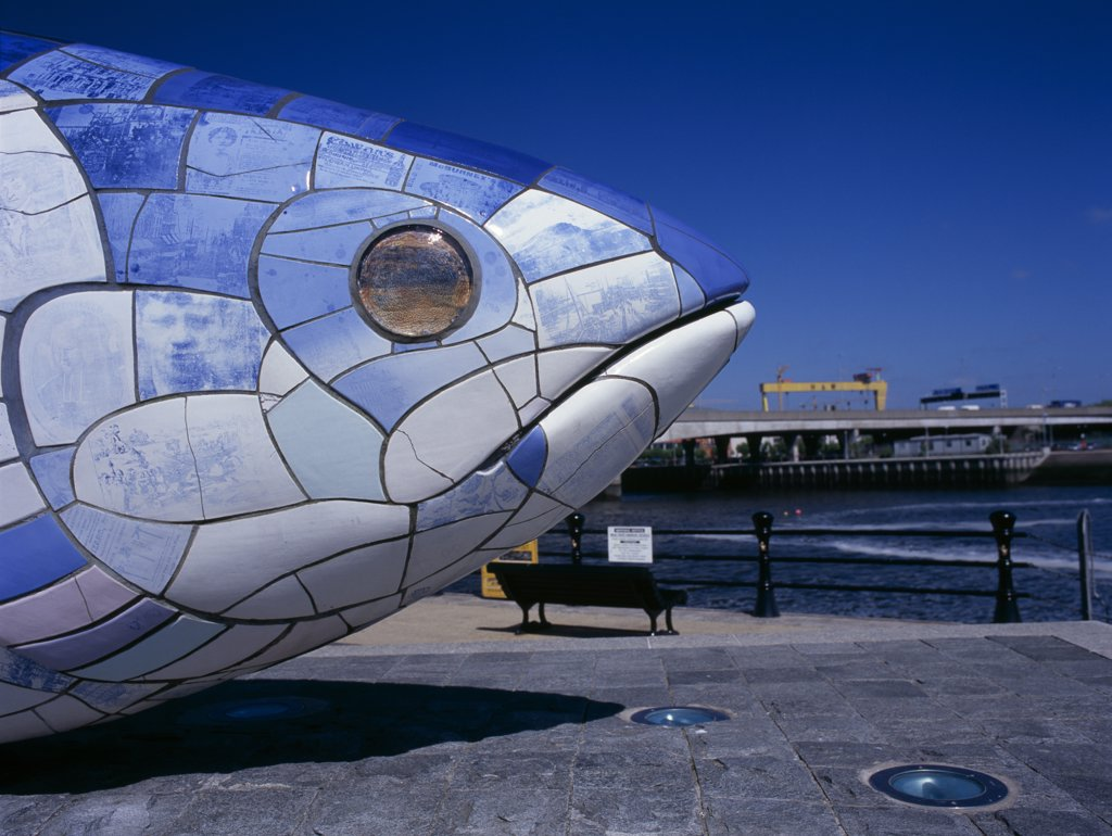 Stock Photo: 1850-26031 Ireland, North, Belfast, 'Lagan Weir.  Big Fish Sculpture, Part View Of Head.'