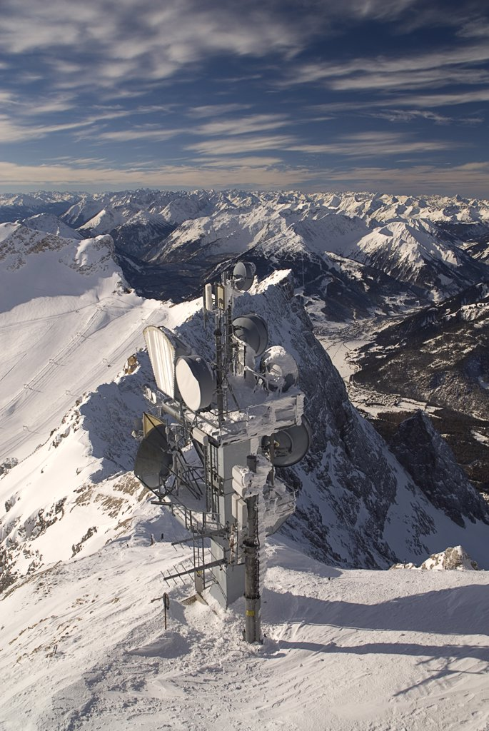 Stock Photo: 1850-26133 Germany, Bavaria, Zugspitze, Zugspitze Summit With Telecommunications Dishes.