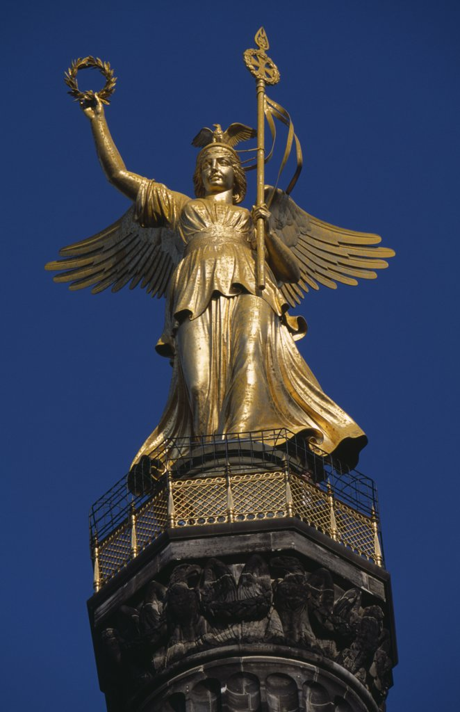 Germany, Berlin, Victory Column Created By Heinrich Strack  To Commemorate Prussian Victory Over Denmark.  Statue Of Viktoria  Goddess Of Victory Designed By Friedrich Drake. : Stock Photo