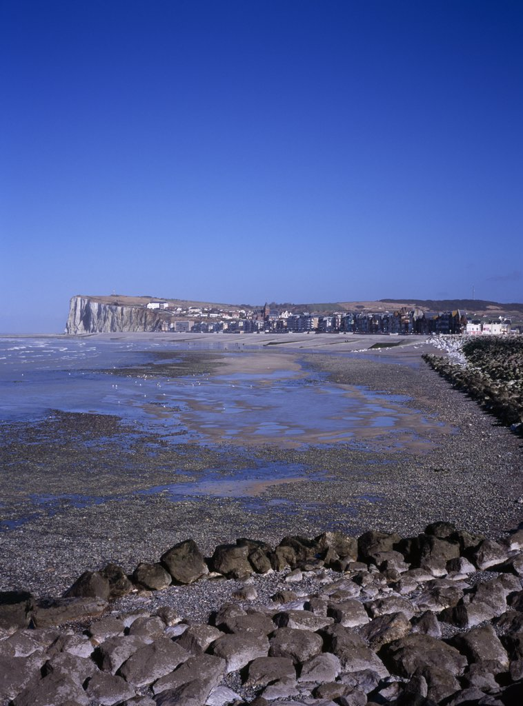 Stock Photo: 1850-27123 France, Normandy, Mers Les Bains, View North East Along Shoreline By Town Mers Les Bains. Chalk Cliffs Beyond And Tide Out.
