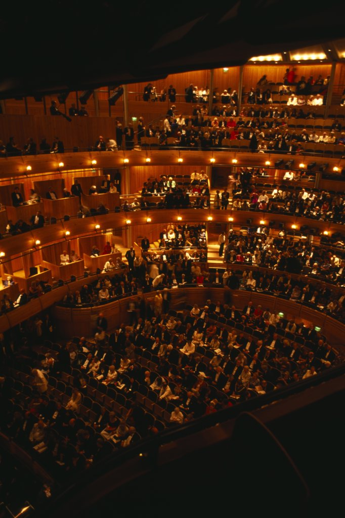 England, East Sussex, Glyndebourne, Interior Of Auditorium With Attendees Taking Their Seats Before Opera Performance. : Stock Photo