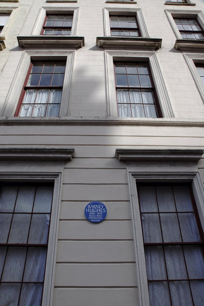 Ireland, North, Belfast, 'West, College Square North, Detail Of Georgian House With Blue Plaque Of Local Baker Barney Hughes. ' : Stock Photo