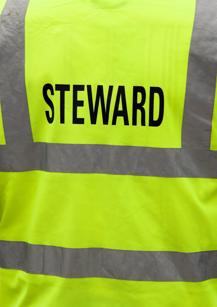 Stock Photo: 1850-27869 England, West Sussex, Findon, Findon Village Sheep Fair The Reflective Jacket Of A Steward.