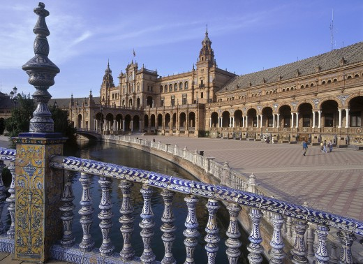 Stock Photo: 1850-2787 Spain, Andalucia, Seville, 'Macarena District, Plaza De Espana In Parque Maria Luisa'