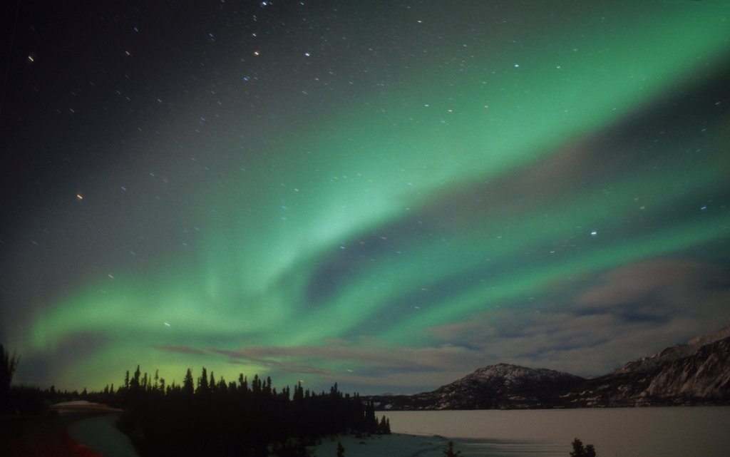 Usa, Alaska, Aurora Borealis, Northern Lights Natural Atmospheric Effect Near The Magnetic Pole. : Stock Photo
