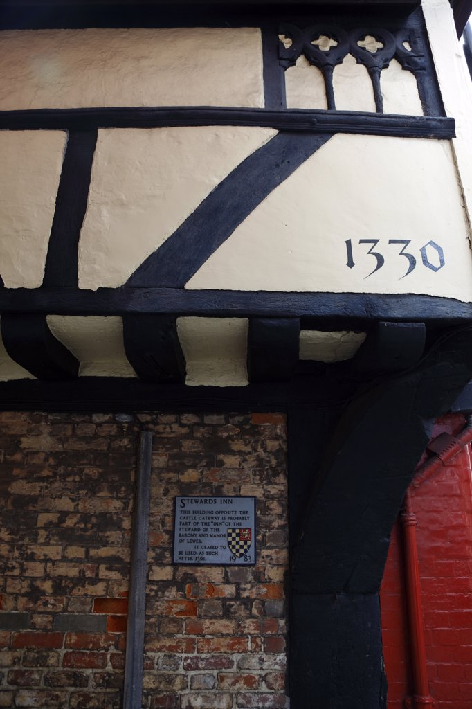 England, East Sussex, Lewes, 'High Street, Stewards Inn Building 1330, Detail Of Tudor Architecture.' : Stock Photo
