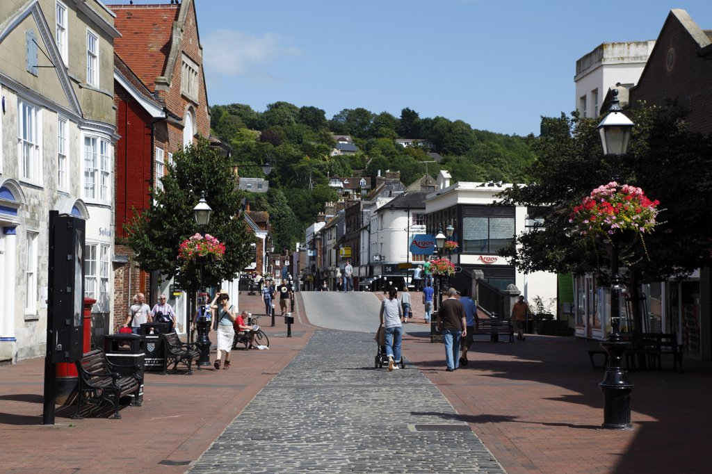 England, East Sussex, Lewes, 'Cliffe High Street, Shoppers On Pedestrianised Area Approaching The Bridge.' : Stock Photo