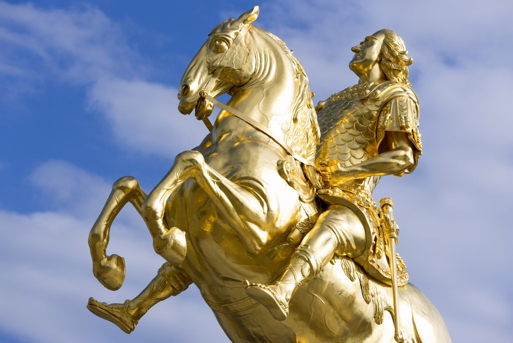 Germany, Saxony, Dresden, The 1734 Gilded Statue By Ludwig Wiedemann Known As Goldener Reiter Or Golden Rider An Equestrian Statue Of The Saxon Elector And Polish King August The Strong In Neustdter Market Square. : Stock Photo