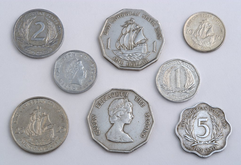 Business, Commerce, Finance, Variety Of Eastern Caribbean Dollar Coins In Various Cent Denominations Used As Currency By The Members Of The Organisation Of Eastern Caribbean States Or Oecs. : Stock Photo