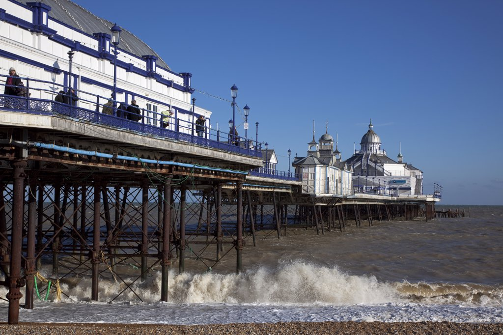 England, East Sussex, Eastbourne, Pier And Pebble Beach. : Stock Photo