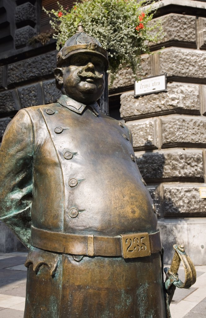 Hungary Pest County Budapest, Statue of an Austro Hungarian Empire era soldier in bronze : Stock Photo