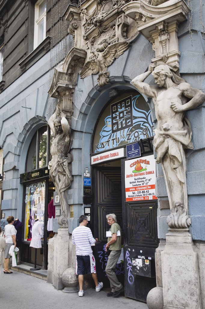 Stock Photo: 1850-30570 Hungary Pest County Budapest, Art Nouveau sculpture on facade of apartment building