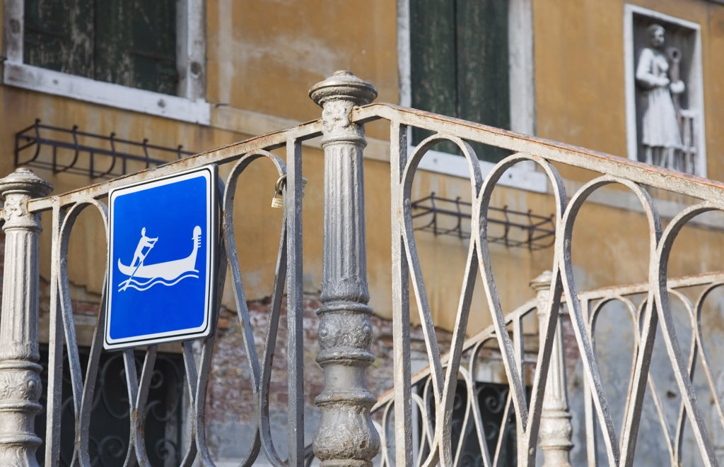 Stock Photo: 1850-30635 Italy Veneto Venice, Centro Storico  Gondola access via iron stairway