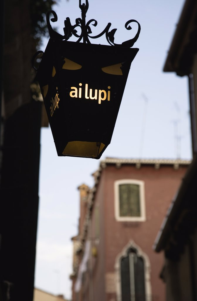 Italy Veneto Venice, Centro Storico  Lantern outside restaurant : Stock Photo