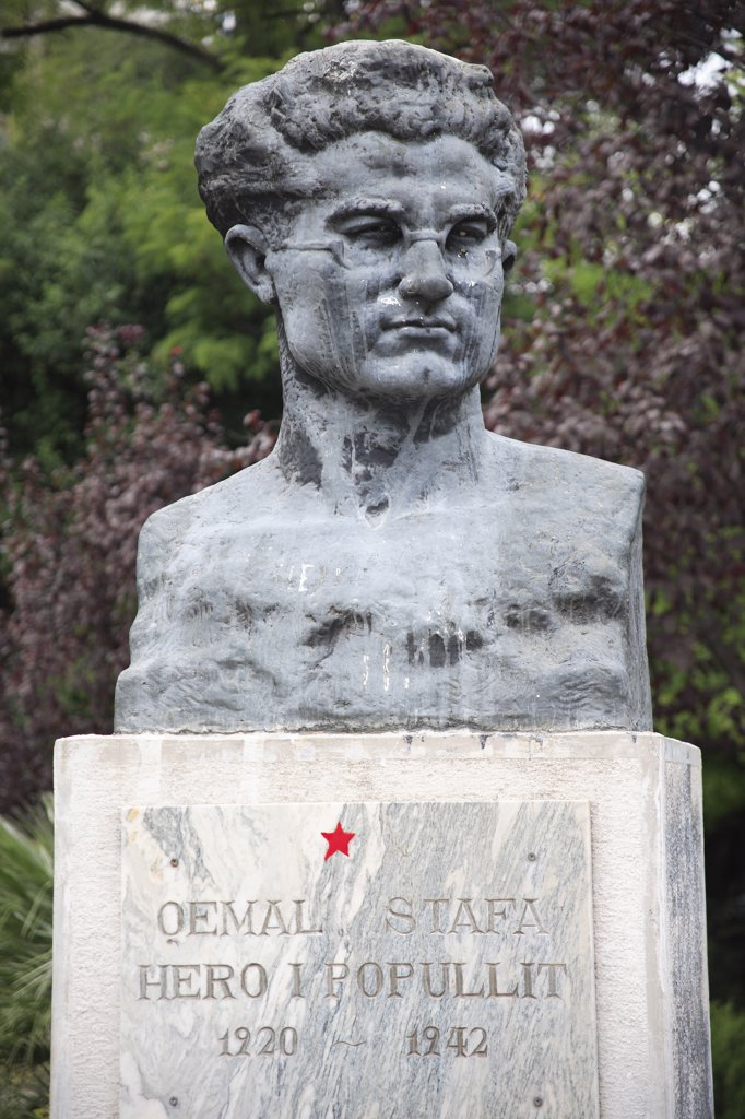 Albania, Tirane, Tirana, Portrait bust of Qemal Stafa  founding member of the Albanian Communist Party and active in the National Liberation Movement  Albania during World War II  he was killed by Italian fascist forces in 1942. : Stock Photo