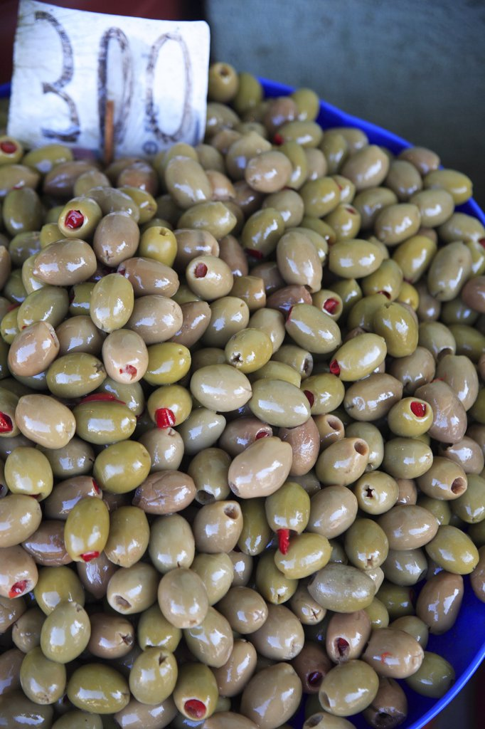 Stock Photo: 1850-31965 Albania, Tirane, Tirana, Display of stuffed  green olives for sale in the Avni Rustemi Market.