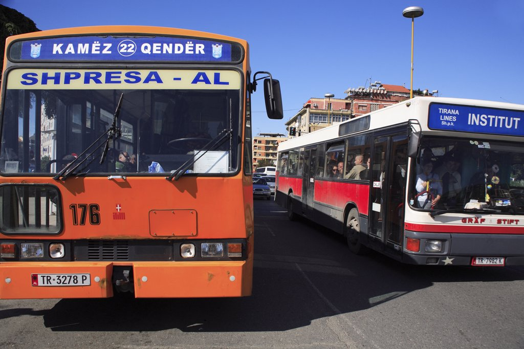Albania, Tirane, Tirana, Public buses. : Stock Photo