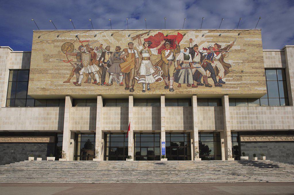 Albania, Tirane, Tirana, National History Museum exterior facade with mosaic representing the historical development of Albania above entrance. : Stock Photo