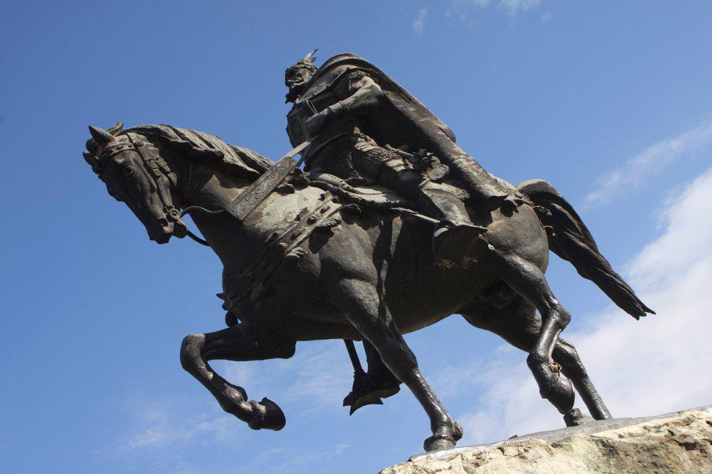 Stock Photo: 1850-32015 Albania, Tirane, Tirana, Equestrian statue of George Castriot Skanderbeg  the national hero of Albania.