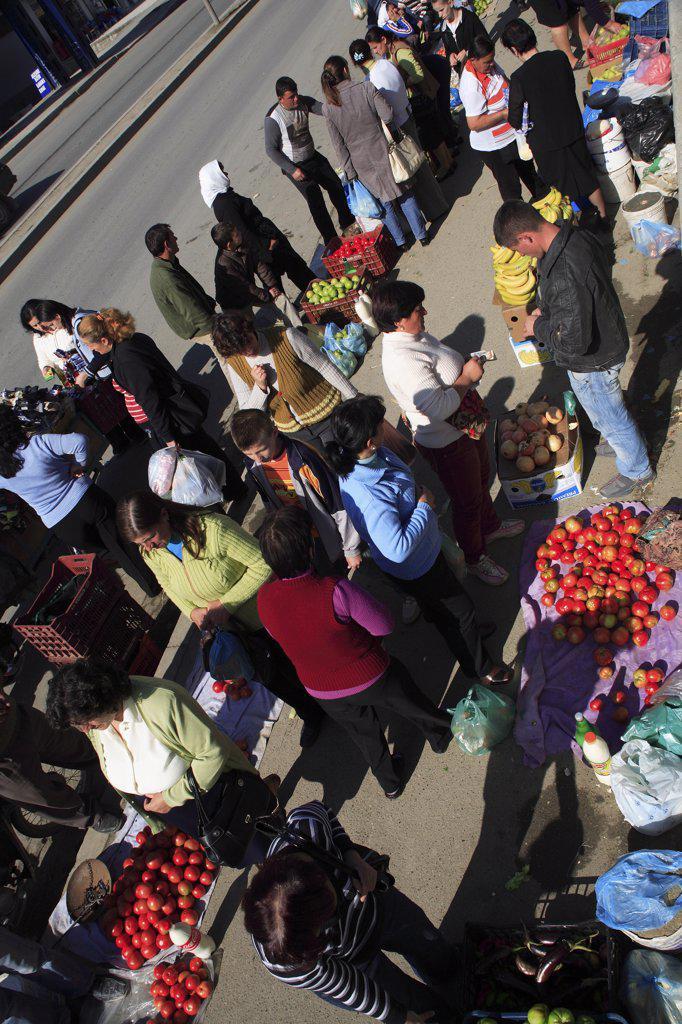Stock Photo: 1850-32200 Albania, Tirane, Tirana, Street vendors selling fruit and vegetables.