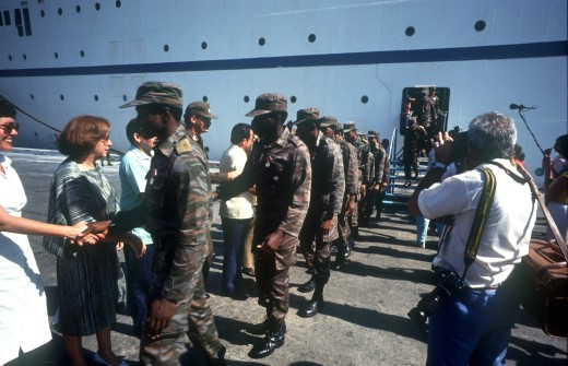 Cuba, Military, Cuban Soldiers Returing From Angola : Stock Photo