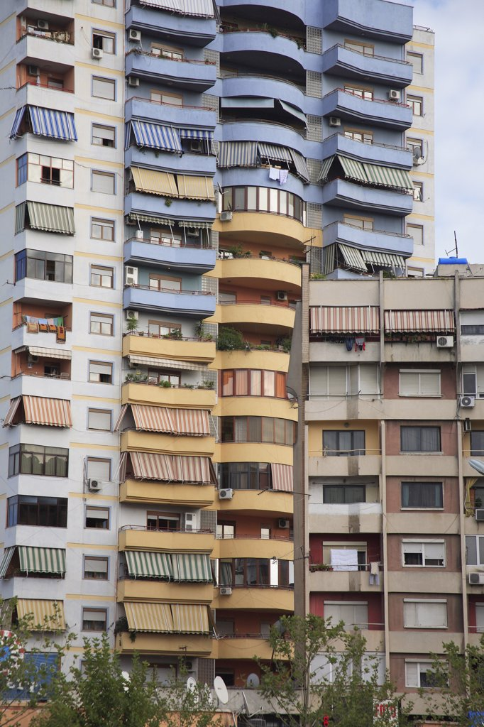 Stock Photo: 1850-32406 Albania, Tirane, Tirana, Part view of exterior facade of apartment block.