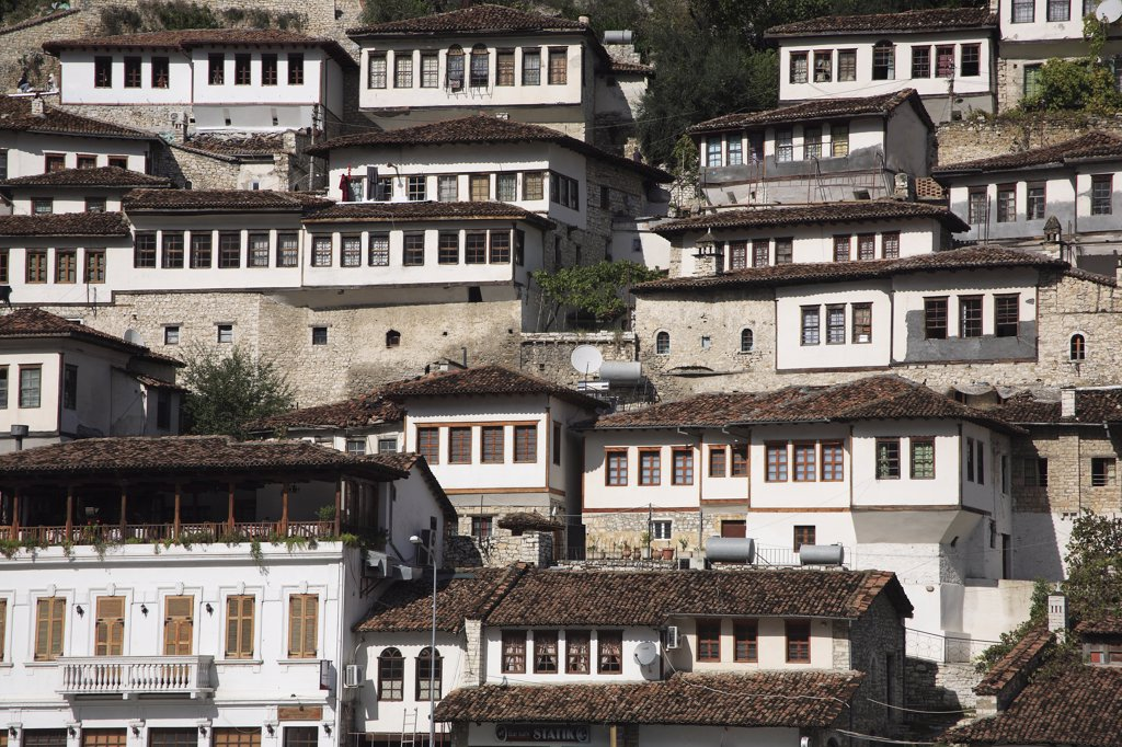 Stock Photo: 1850-32432 Albania, Berat, Traditional Ottoman buildings on hillside in old town.