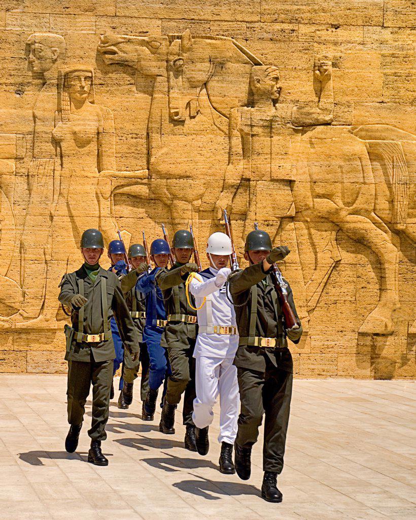 Turkey, Cappadocia, Ankara, Anitkabir, Mausoleum of Kemal Ataturk, Changing of the Guard, Mausoleum in background. : Stock Photo
