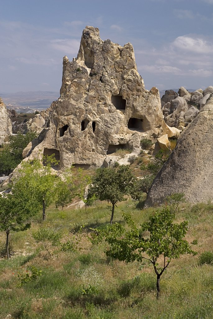 Turkey, Cappadocia, Goreme, Goreme Open Air Museum, The Nun's Convent or Nunnery is 7 storeys high and once housed as many as 300 nuns. : Stock Photo