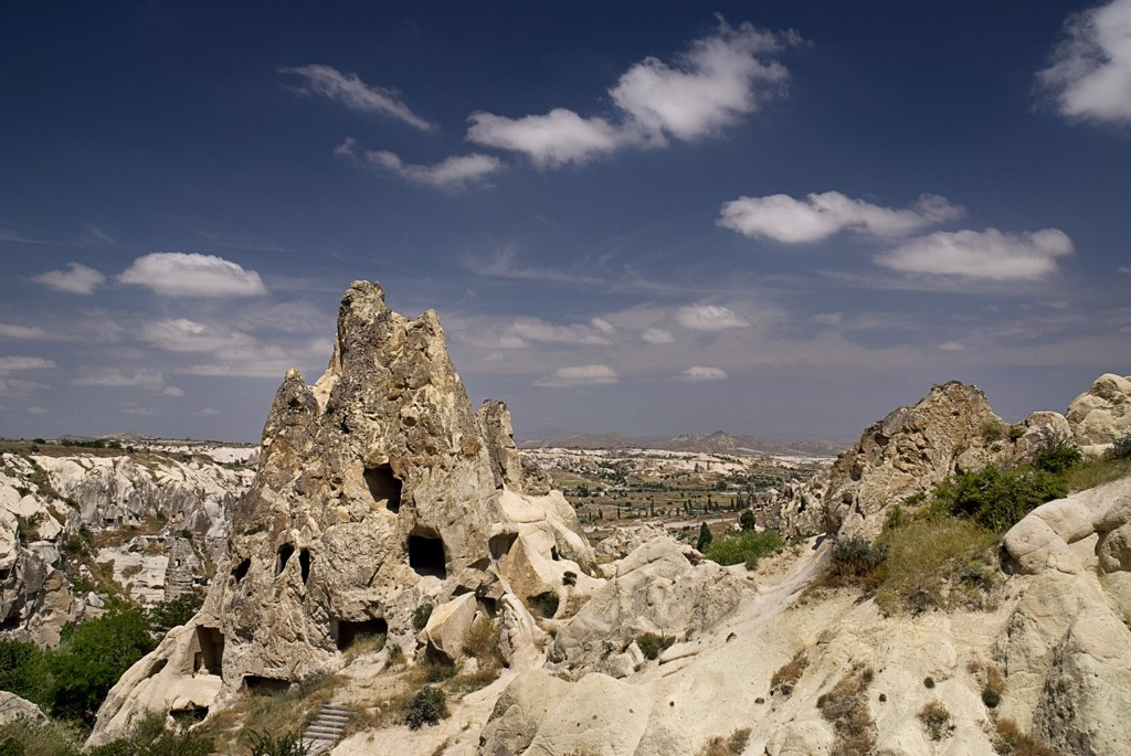 Stock Photo: 1850-32698 Turkey, Cappadocia, Goreme, Goreme Open Air Museum, The Nun's Convent or Nunnery is 7 storeys high and once housed as many as 300 nuns.
