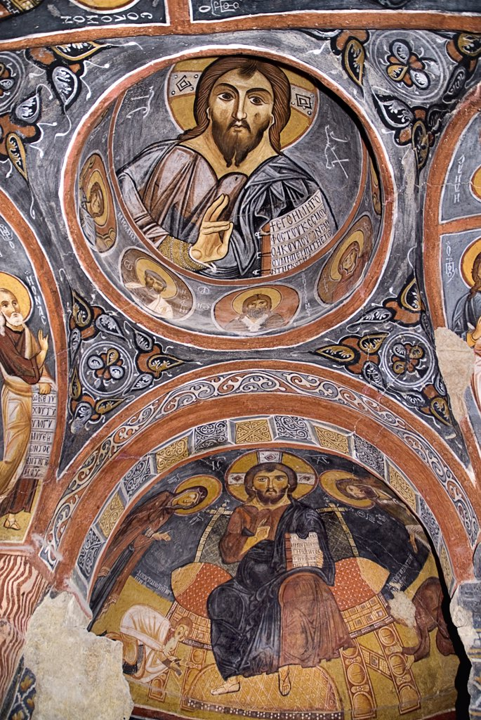 Stock Photo: 1850-32705 Turkey, Cappadocia, Goreme, Goreme Open Air Museum, The Dark Church, So named because it had very few windows. The frescoes date from the 11th century. Dark Church is known in Turkish as Karanlik Kilise, Christ as Pantocrator.