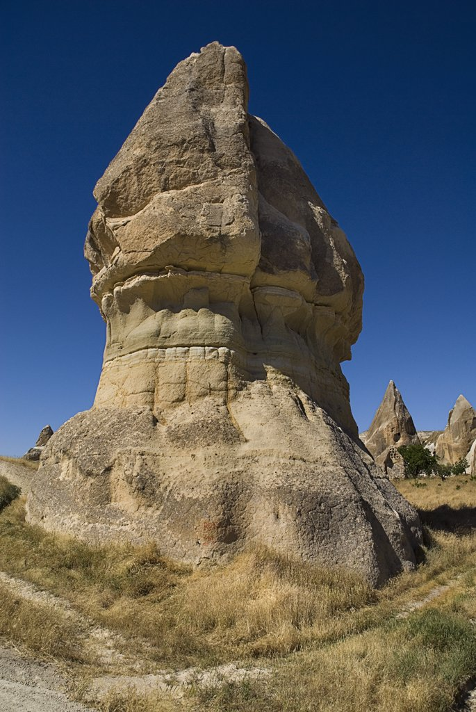 Stock Photo: 1850-32708 Turkey, Cappadocia, Goreme, Sword Valley, The valley got its name because of all the sharp pinnacles to be found there.