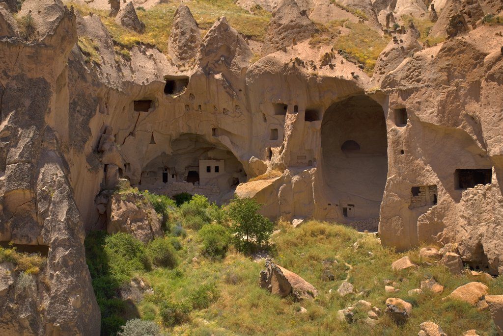 Turkey, Cappadocia, Zelve, Zelve Open Air Museum, Abandoned houses, Zelve is where 3 valleys of abandoned homes and churches converge, inhabited until 1952 when the valley was deemed too dangerous to live in any more. : Stock Photo