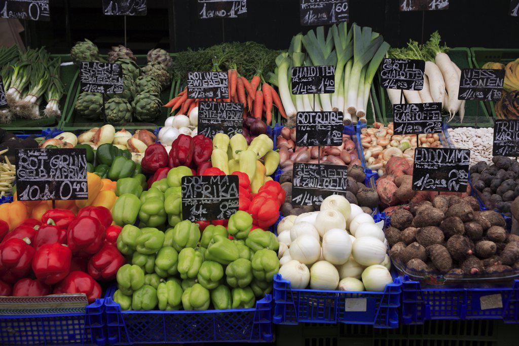 Austria, Vienna, Vegetable stall in the Naschmarkt. : Stock Photo